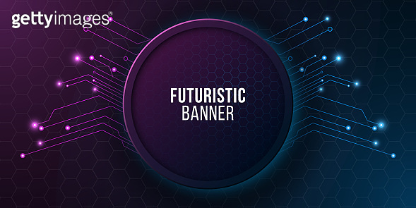 Futuristic banner with computer circuit. Modern tech design. Blue and purple glowing neon honeycombs. Electronic network. Vector illustration. EPS 10