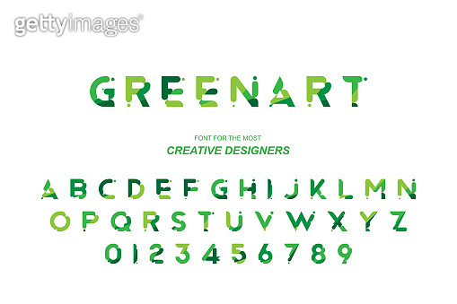 Green Eco original bold font alphabet letters and numbers for creative design template. Flat illustration EPS10