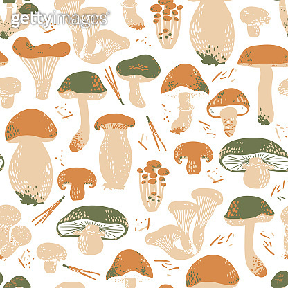 Edible Mushrooms seamless pattern. Linocut old style. Hand drawn vector illustration.
