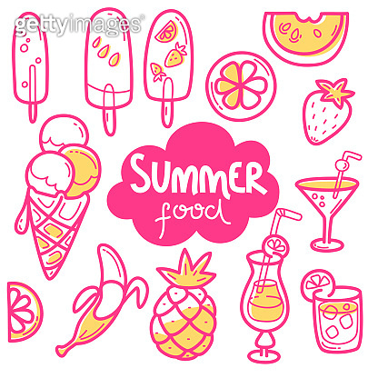 Kawaii cute collection of summer sweet food, ice-cream, fruits and cocktails.