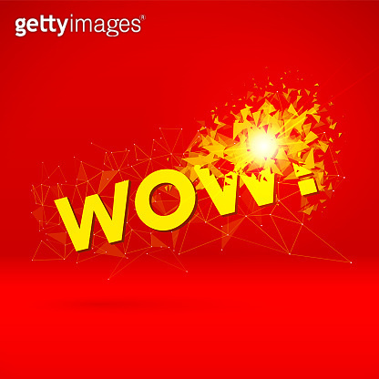 Wow exploding sign with particles for party or commercial sale offering with red and yellow explosion