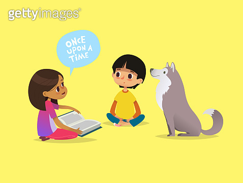Cute little girl sits on floor and tells fairytale to her friend and pet dog. Kids reading fairy tales book. Concept of educational activity for children. Cartoon vector illustration for poster.
