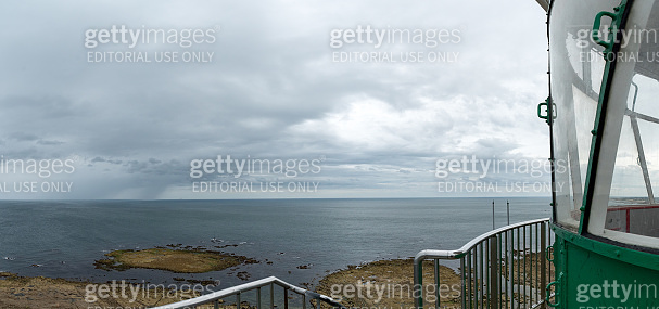 panorama view from the top of the Gatteville lighthouse on the Normandy coast