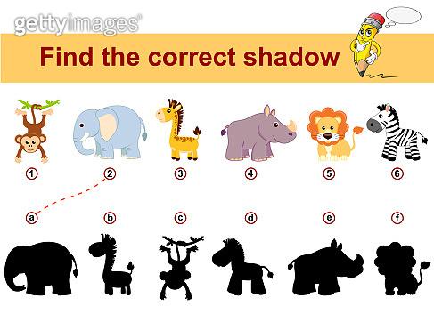 Find correct shadow. Kids educational game. African animals. Lion, elephant, giraffe, monkey, zebra and rhinoceros