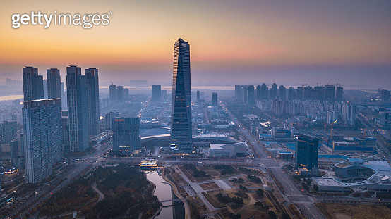 Aerial view of  Incheon,Central Park is a modern city there are many condos and offices. in Songdo International Business District  It's life for modern city people of  South Korea