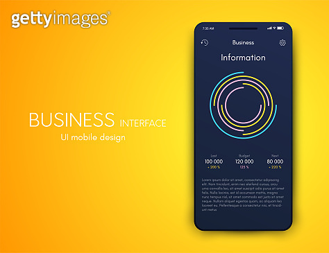 Mobile phone application for analytics. stock vector