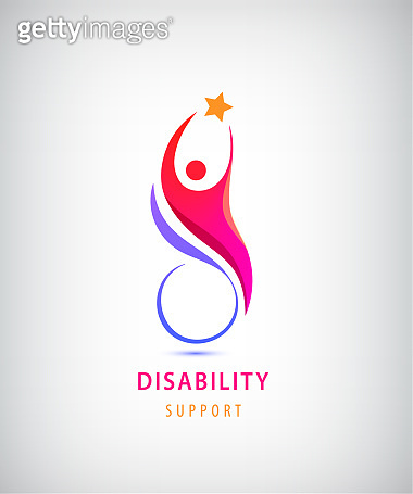 Vector disabled people support, sport, help icon. Man sitiing on the wheelchair