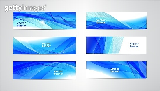 Vector abstract flow wavy banners set. Water, stream, energy stream horizontal backgrounds. Wave Liquid, transparent, gradient headers