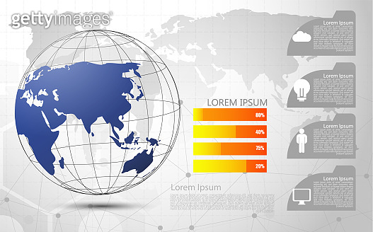 Global network connection Abstract of world network, internet and infographics options template