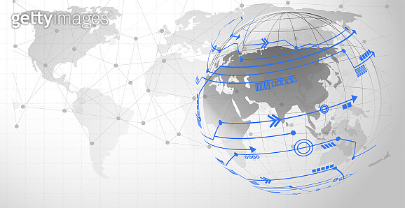 Global network connection Automated Support Assistance and Networks Design Concept with Wireframe
