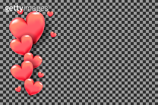 3D hearts as frame on transparent background for Valentine's Day greeting card, holiday poster, banner, invitation, sales or promo. Love theme (for wedding decoration) with pink hearts on borders