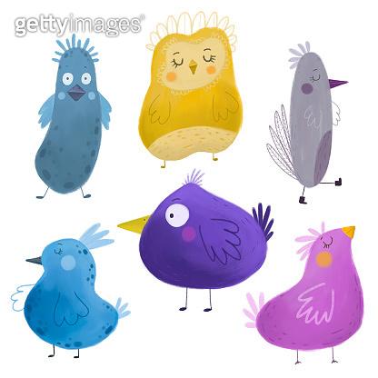 Collection of cute birds. Bird icon.