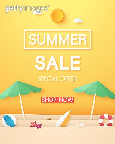 Summer sale , beach with umbrella beach and stuff , paper art style