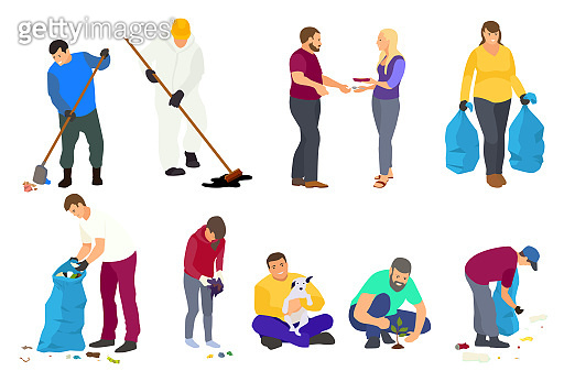 Collection different Volunteers. Young and old people clean in the city Park, plant trees, collect garbage. Vector flat illustration. Volunteering, charity social concept. Ecological lifestyle.