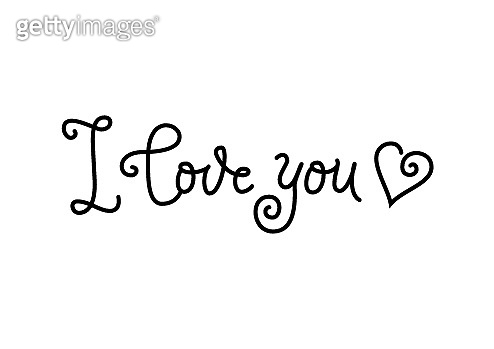 calligraphy lettering of I love you in black isolated on white background decorated with heart