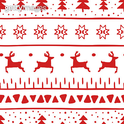 Simple Christmas pattern with reindeer, Christmas trees, stripes, triangles and Christmas stars. Pattern on winter pullover. Background for wrapping paper, wallpaper, cards and greetings