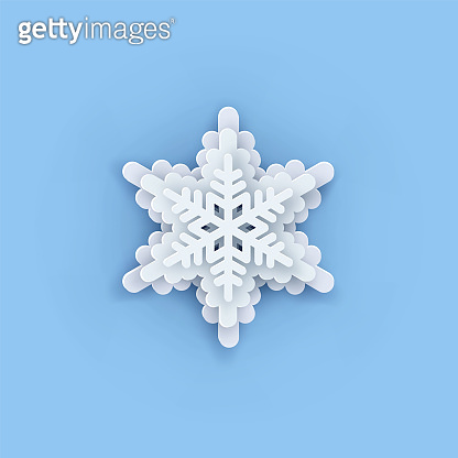 Vector snowflakes collection. Paper Snowflake shapes. Symmetric Papercut snow flake silhouette isolated on blue. Winter weather theme decoration icons. Digitally generated Christmas, Noel print