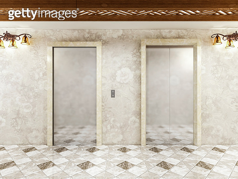 Design of elevator corridor in Luxury Hotels with medieval retro-style