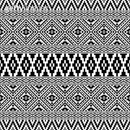 Ikat Traditional Aztec Pattern in black and white color. Tribal Ethnic Pattern Abstract vector for template and background design