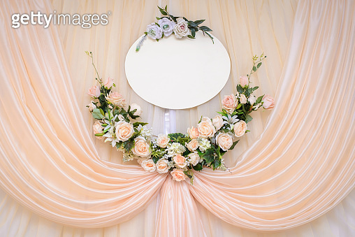 Wedding wall decoration at the ceremony with copy space