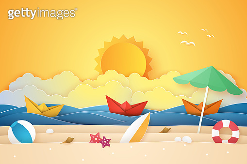 Summer time , sea and beach with boat and stuff  , paper art style