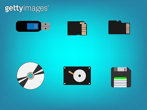 Computer memery storage icon set