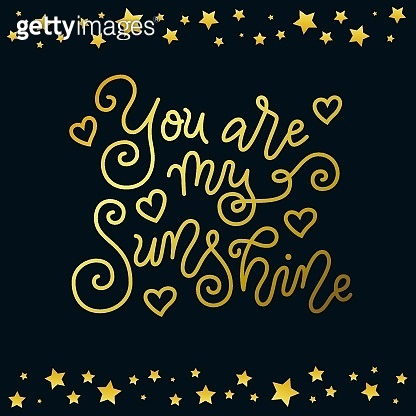 mono line calligraphy lettering of You are my sunshine in golden on dark