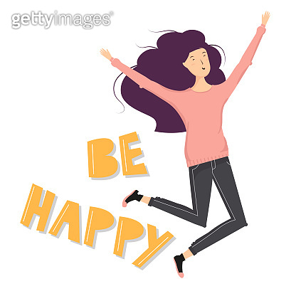 Happy female character jumping and laughing. Vector cartoon illustration isolated on white background