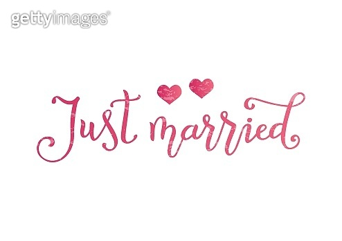 calligraphy of Just married in pink with two pink hearts and texture on white