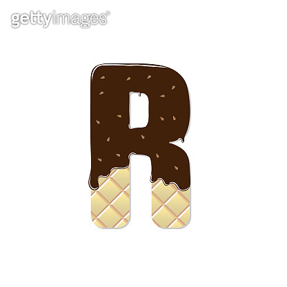wafer letter R with the current chocolate glaze