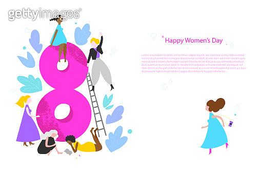 Happy Women's Day vector banner template
