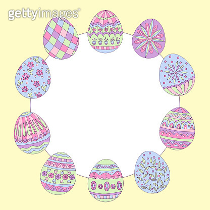 Round frame with abstract easter egg pattern
