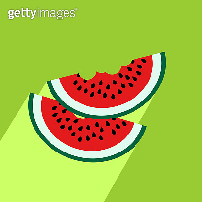 Watermelon slices icon with long shadow.