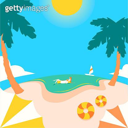 Curve beach vacation vector
