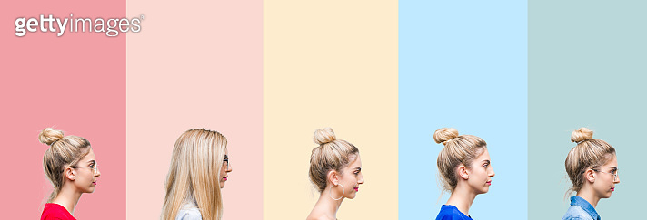 Collage of beautiful blonde woman over colorful stripes isolated background looking to side, relax profile pose with natural face with confident smile.
