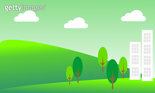 Landscape with buildings and trees.  Eco-friendly concept ideas.