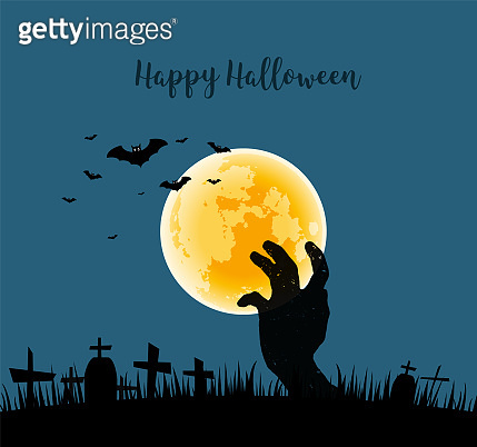 Hand of ghost in cemetery on full moon background.