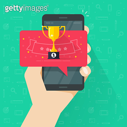 Winner award cup on mobile phone vector illustration, flat cartoon champion prize or achievement on cellphone screen, concept of game contest or competition win online image