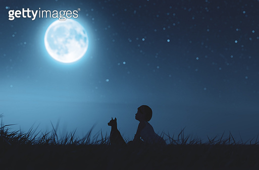 Girl with her dog sitting on grass field looking to the moon