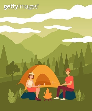 Couple sitting by bonfire frying marshmallow on sticks nearby tent cartoon style