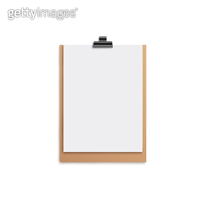 Brown clipboard mockup with blank white piece of paper