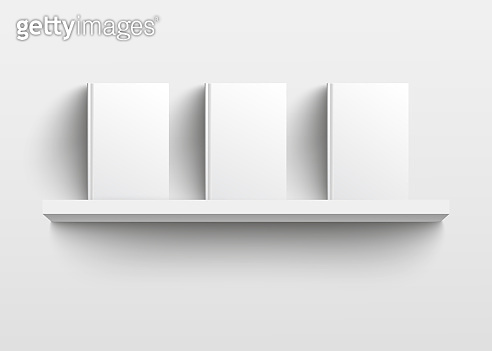 White book shelf mockup with three books, realistic blank template design with empty hard covers facing front