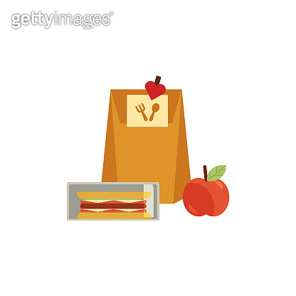 Vector lunchbox with snacks, vegetables