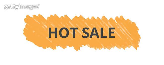 Hot sale text inscription on orange marker scribble stroke realistic style