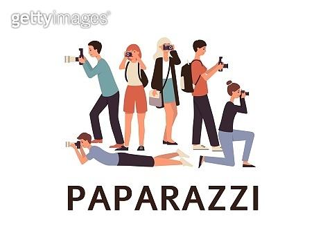 Photographers or paparazzi taking photo flat vector set illustration isolated.