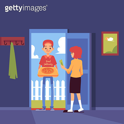 Man stands at doorway and delivering pizza box to customer home cartoon style