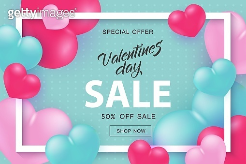 Valentine Day sale and special offer banner with sign in white frame with hearts.