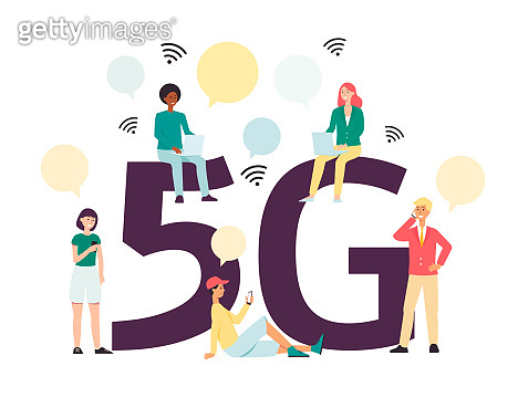 5G mobile internet connection - cartoon people using fast wireless technology on their phone