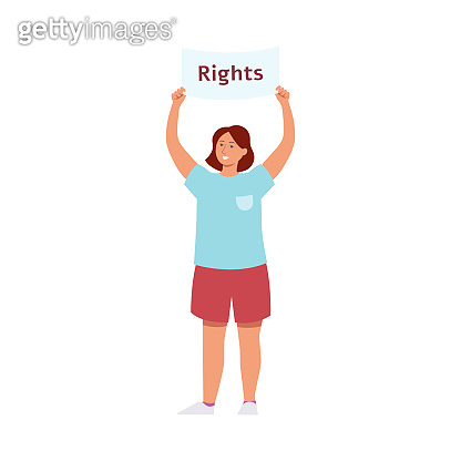Woman stand holding raised protest placard with rights inscription cartoon style