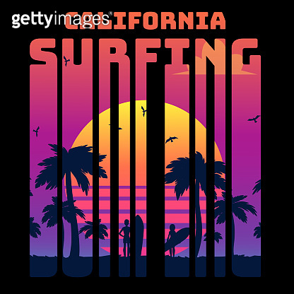 Summer tropical text California surfing with sunset gradient and palms and surfers silhouette.